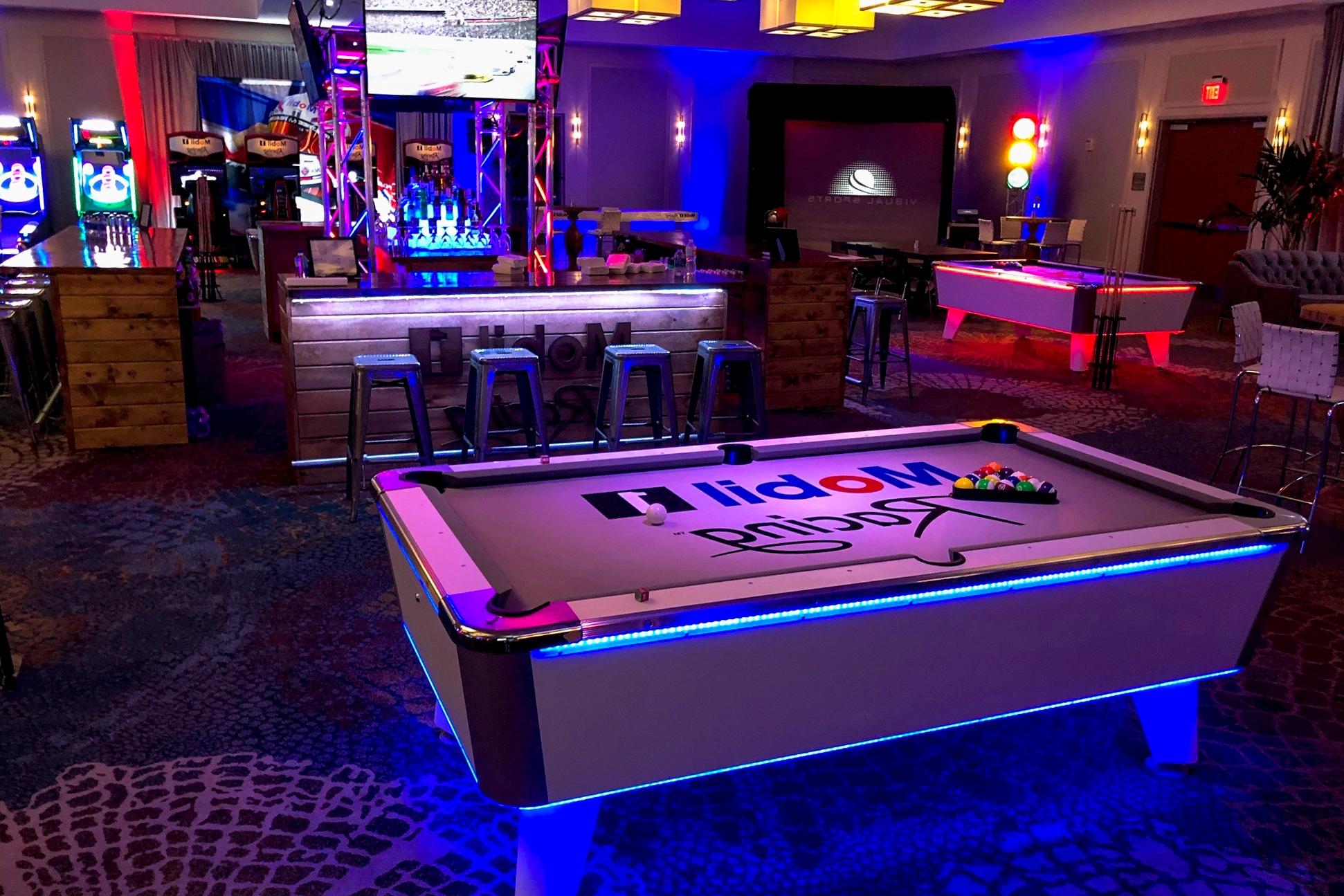 Skeeball FX, Nascar, Sports Simulator, LED Pool, LED Air Hockey, Custom Bar